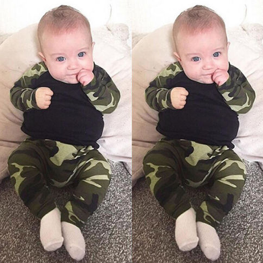 aaf82bfc8 Details about UK Toddler Baby Boy Girl Camo T-Shirt Tops Pants Outfits Sets  Clothes Romper