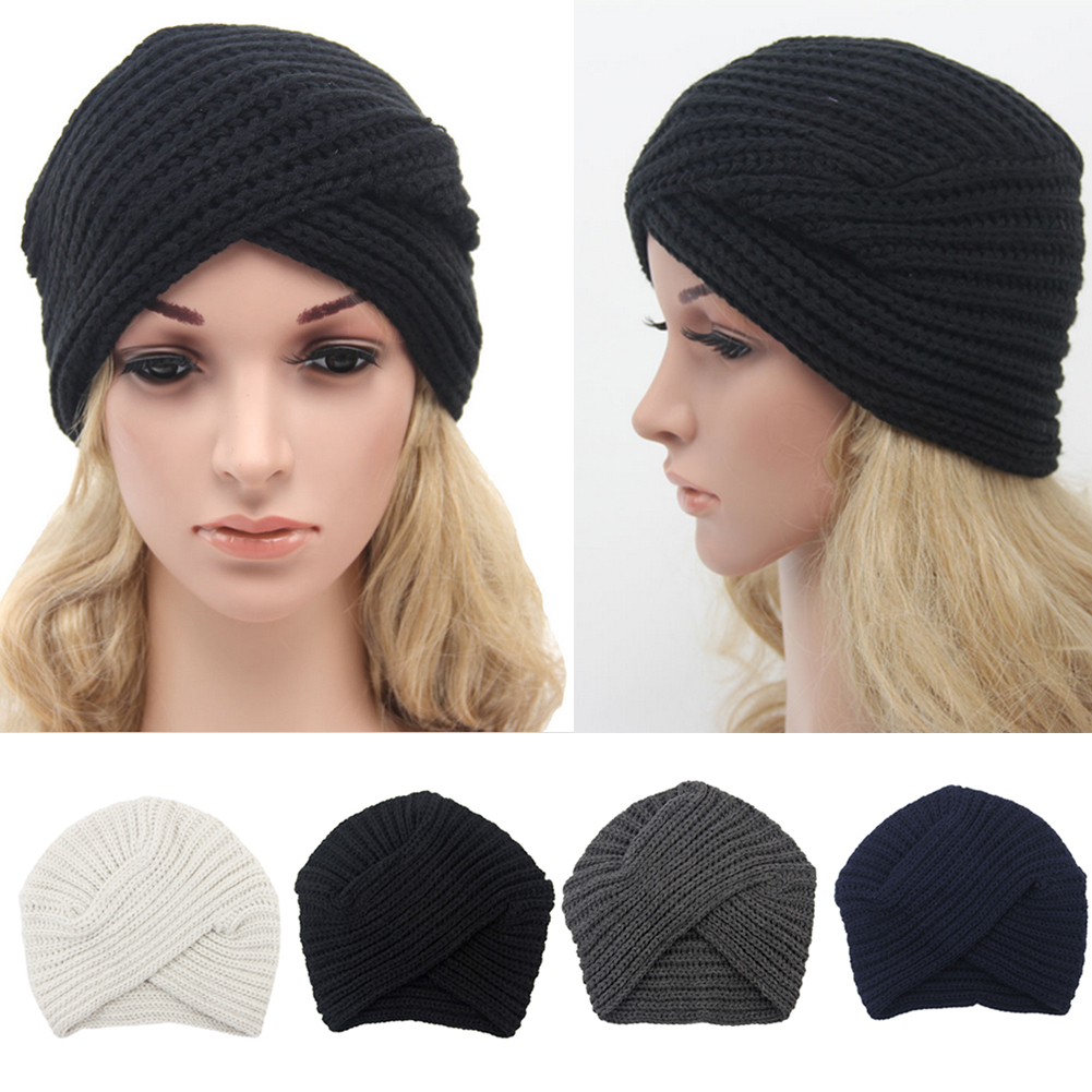 Details about New Fashion Women s Knitted Turban Hats Cute Beanies Cross  India Plate Head Caps 3af27ccfd0c