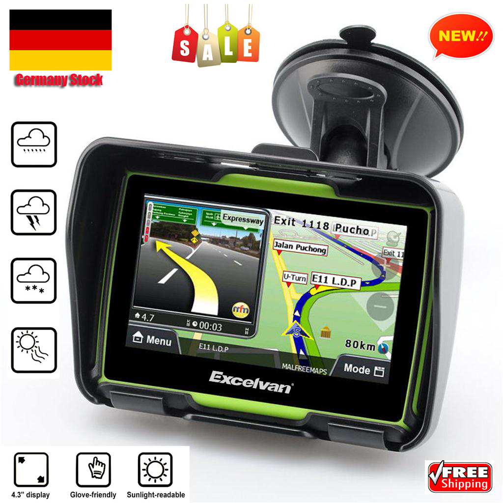 8gb 4 3 bluetooth ipx7 motorrad fahrrad gps navi. Black Bedroom Furniture Sets. Home Design Ideas