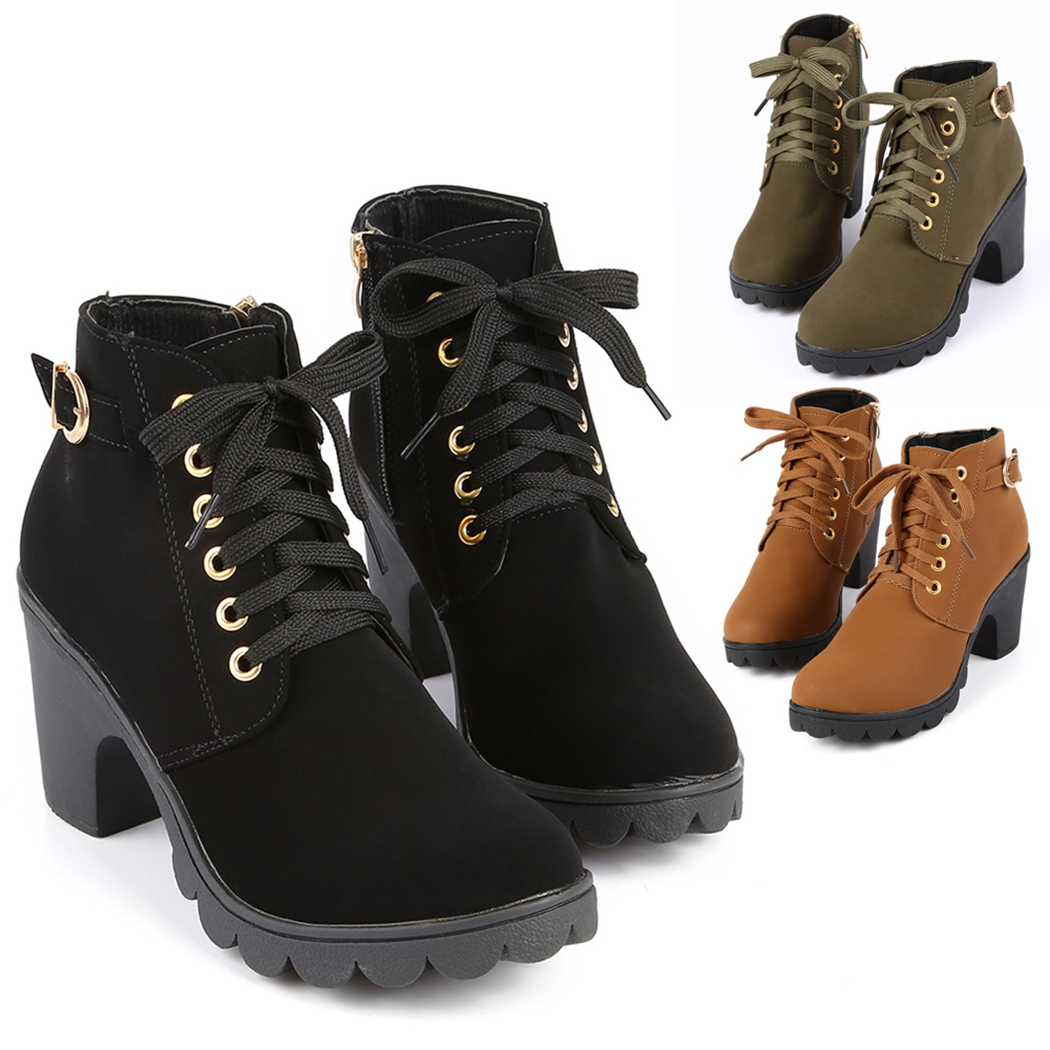 150f2dc1fa5 Details about Lady Lace Up Ankle Boots Women High Block Heel Buckle Casual  Zipper Shoes LD ATP