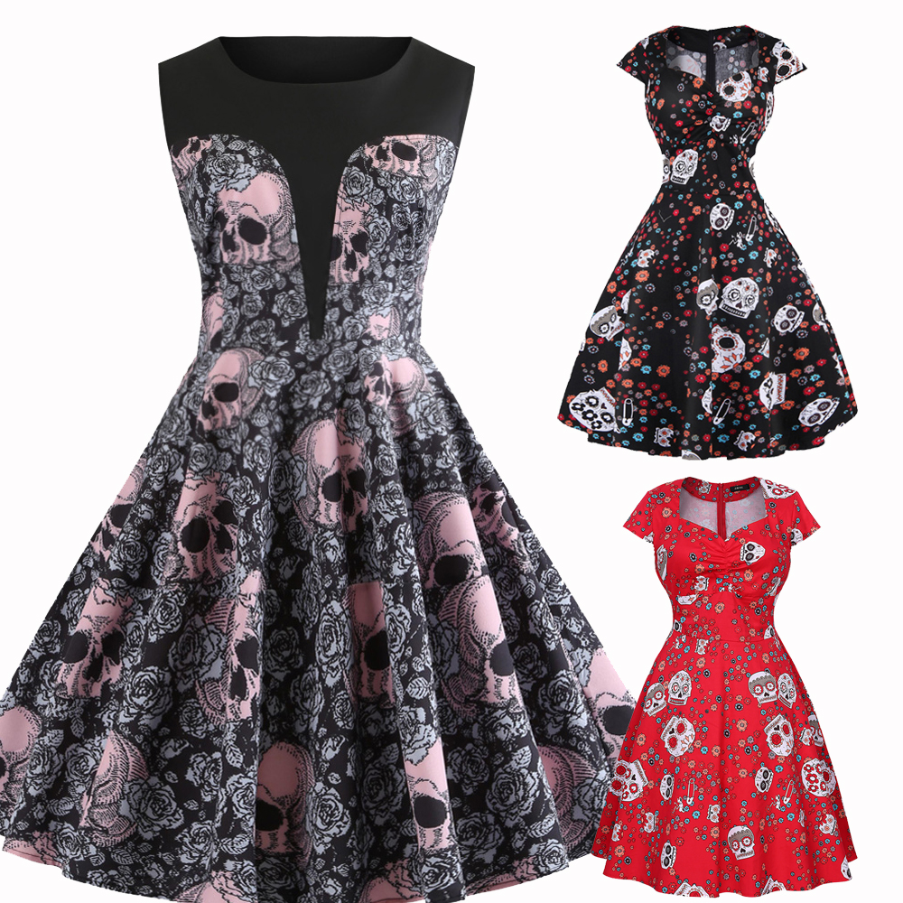 Details about PLUS SIZE Vintage Retro 50s 60s Swing Skull Gothic Dress  Rockabilly Party Dress