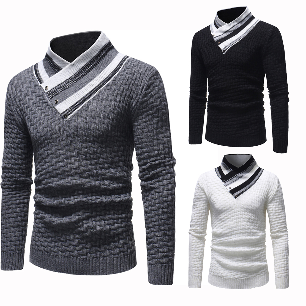 9950191152cbfb Details about Men Long Sleeve Knitted Top High Neck Sweater Slim Fit Fashion  Sweatshirt Winter
