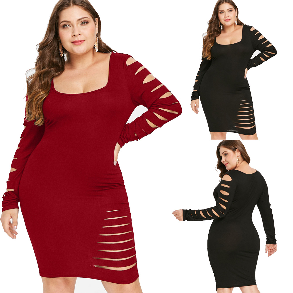 Details about L-5XL Plus Size Ripped Bodycon Dress Women\'s Cut Out Long  Sleeve Ripped Dresses