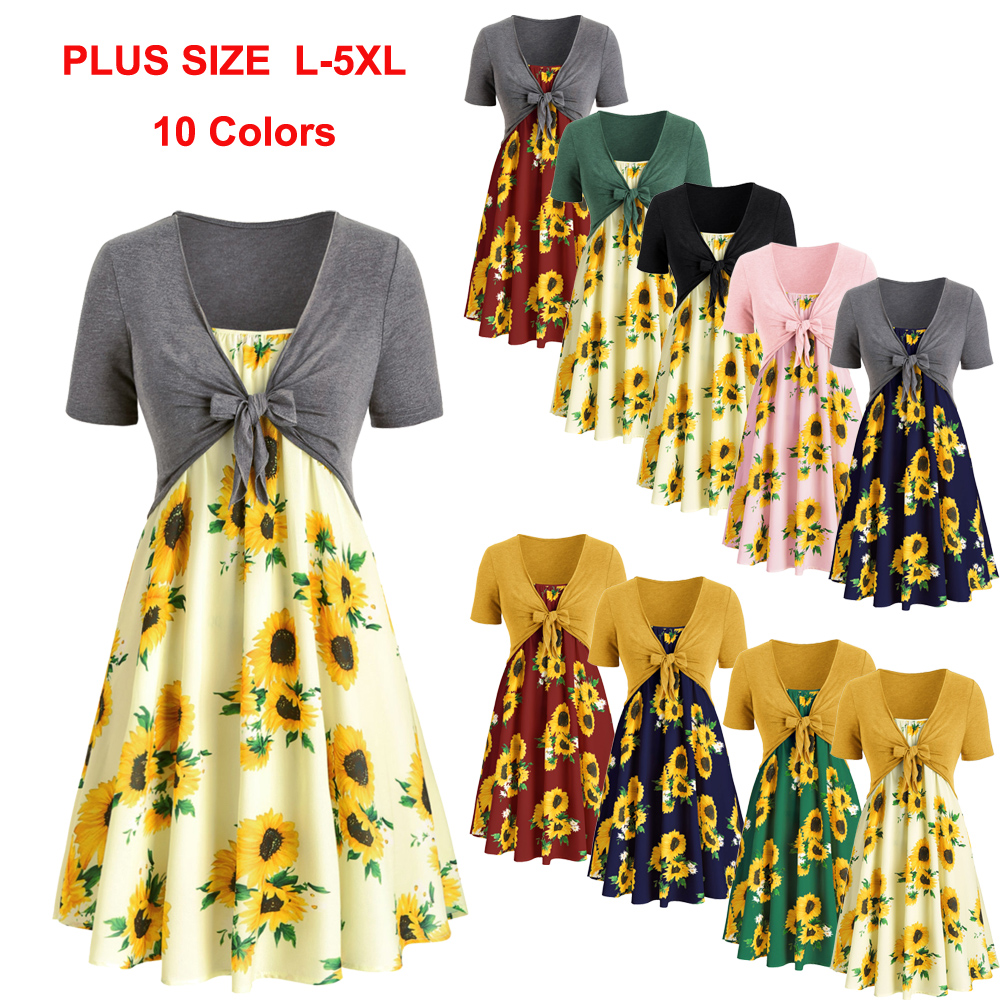 Details about Two Piece Plus Size Sunflower Print Dress With Front Knot Top  Women Casual Dress