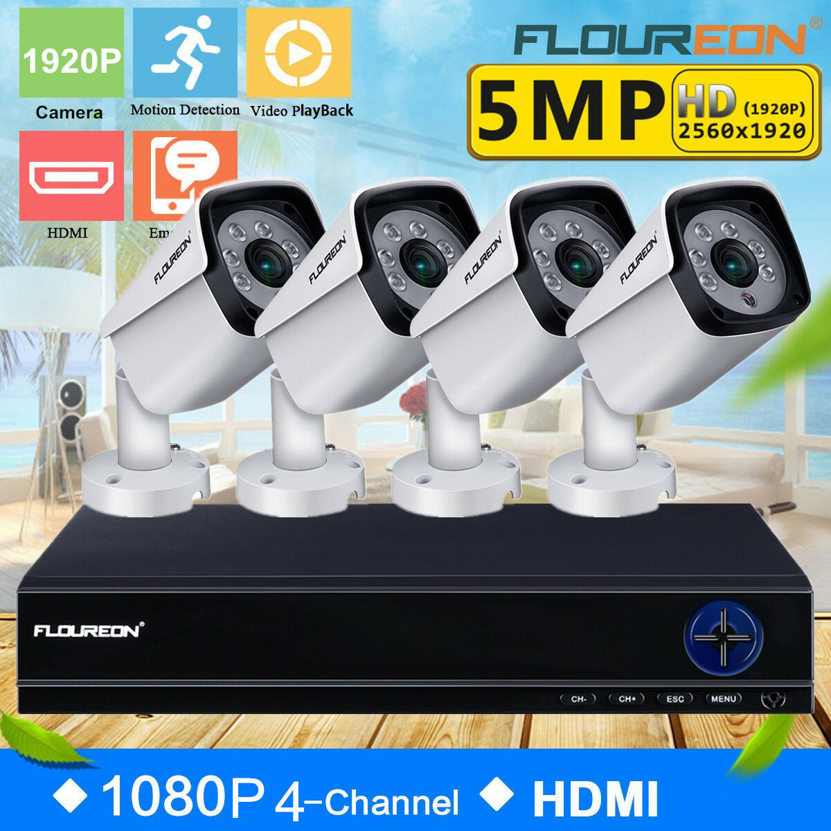 Details about FLOUREON CCTV 5MP AHD DVR 1920P 4K Outdoor Camera Home Video  Security System Kit