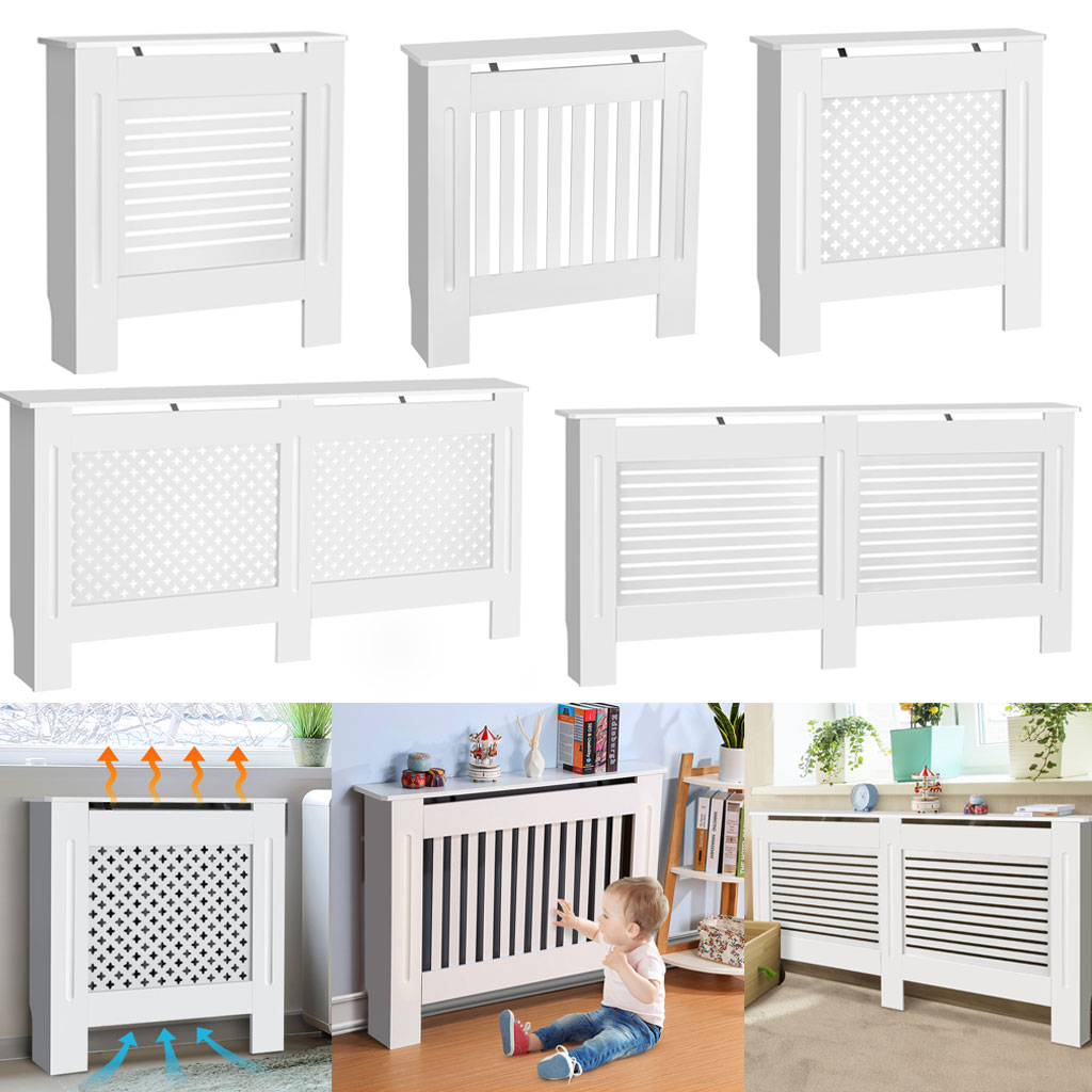 Radiator Cover Modern Slats White Small Cabinet Mdf Painted Wood Grill Furniture Ebay
