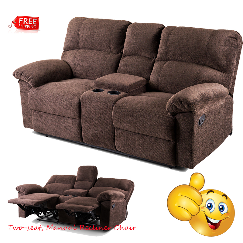 Details About Two Seat Manual Recliner Chair Sofa Reclining Wide With Cup Holders