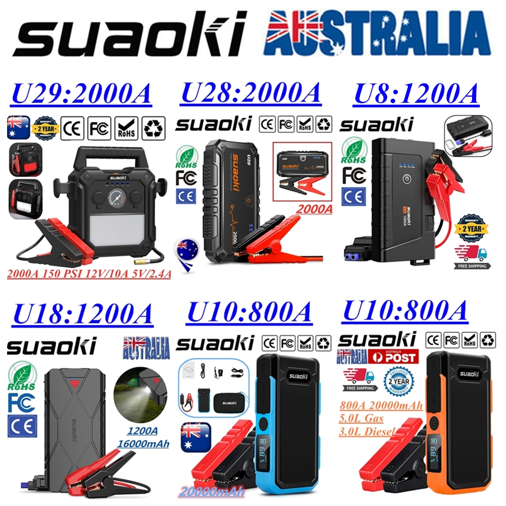 SUAOKI Car Jump Starter U8 1000A Peak Car Battery Booster Smart Jump Clamps with Type-C and USB 3.0 Quick Charge,LED Flashlight up to 7.0L Gas and 5.5L Diesel IP67 Waterproof Portable Power Pack